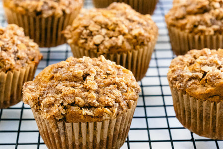 The glittery streusel topping on these healthy pumpkin muffins adds the perfect crunch, and the moist interior is pumpkin-spiced heaven