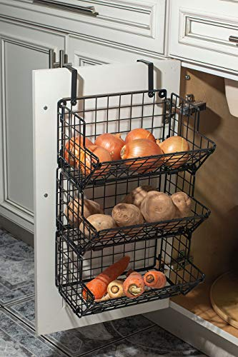 Hanging fruit basket Under sink inside cabinet storage Metal Wire 3 Tier organizer Kitchen Fruit Produce Bin Rack, Dish-washing detergent Baskets, fruit stand produce storage rustic (16x10x8 inch)