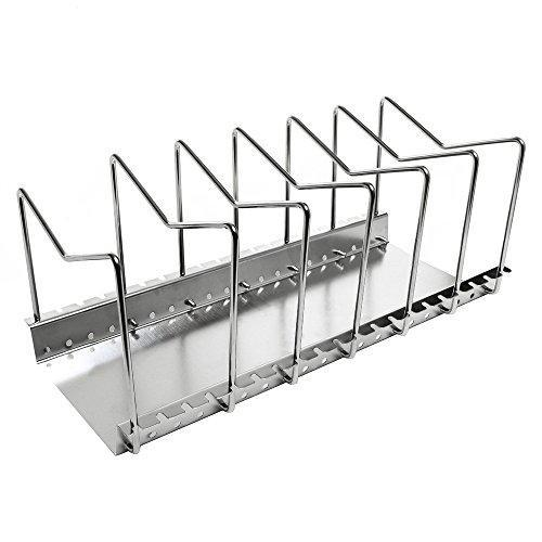 Arcxel Stainless Steel Dish Rack Kitchen Pot Pan Lid Cutting Board Adjustable Organizer Holder with Drain Tray for Cabinet and Pantry Storage Organization, 6 Compartments