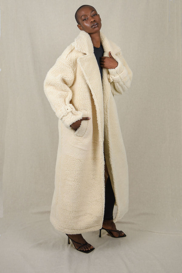 Cream Faux Shearling Coat