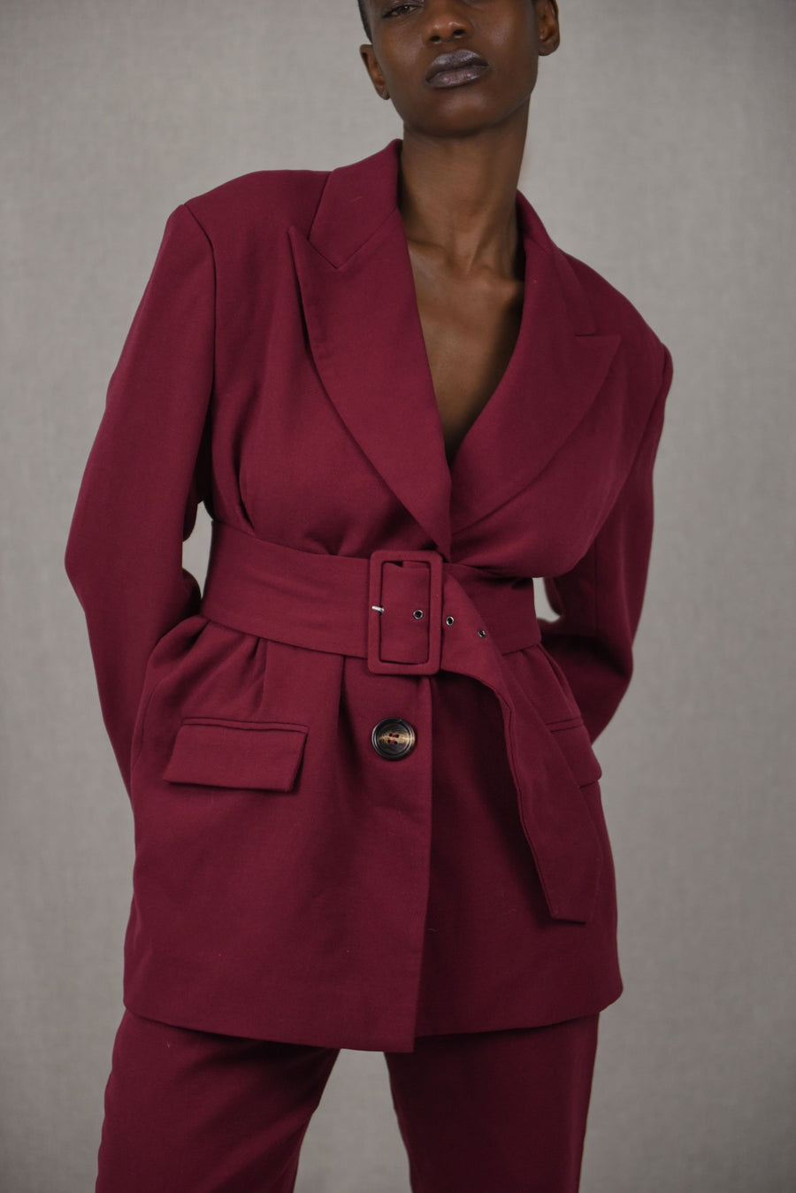 Maroon Tailored Belted Suit Blazer