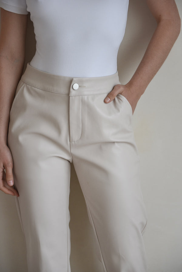 Cream Vegan Leather Trousers