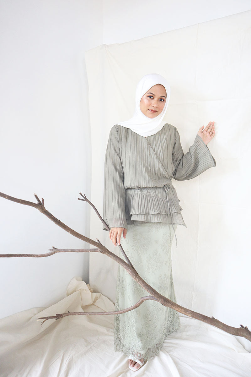 Edith Wrap Kurung Set (Olive)