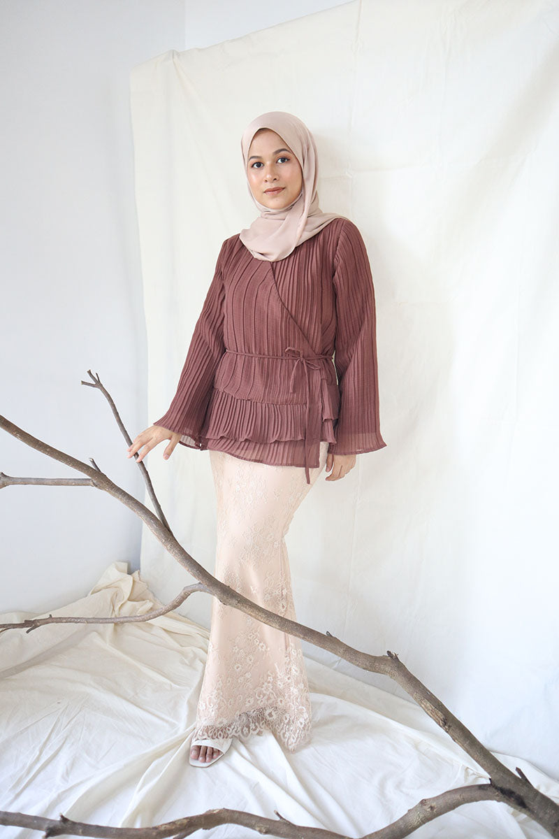 Edith Wrap Kurung Set (Brown)