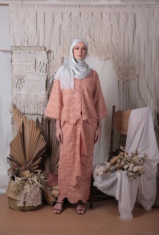 Layla Loose Kebaya Set (Terracotta)