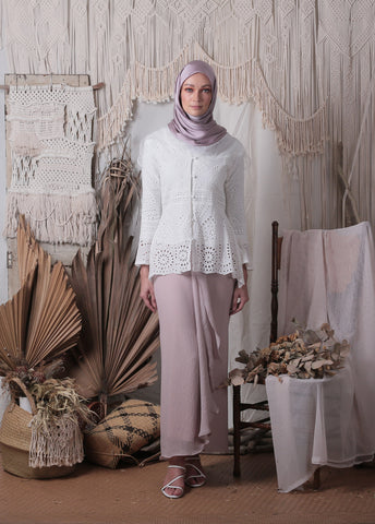 Louisa Kebaya Top (White)