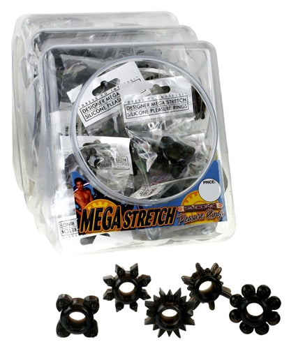 Mega Stretch Silicone Pleasure Rings - Black - 72  Piece Fishbowl PD2219-23