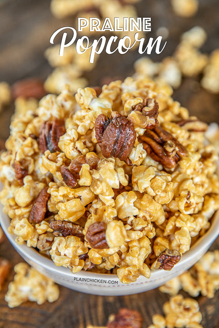 Praline Caramel PopcornPraline Popcorn - highly addictive!! SOOOO good! Sweet and Salty in every bite! The BEST Caramel Popcorn I've ever eaten