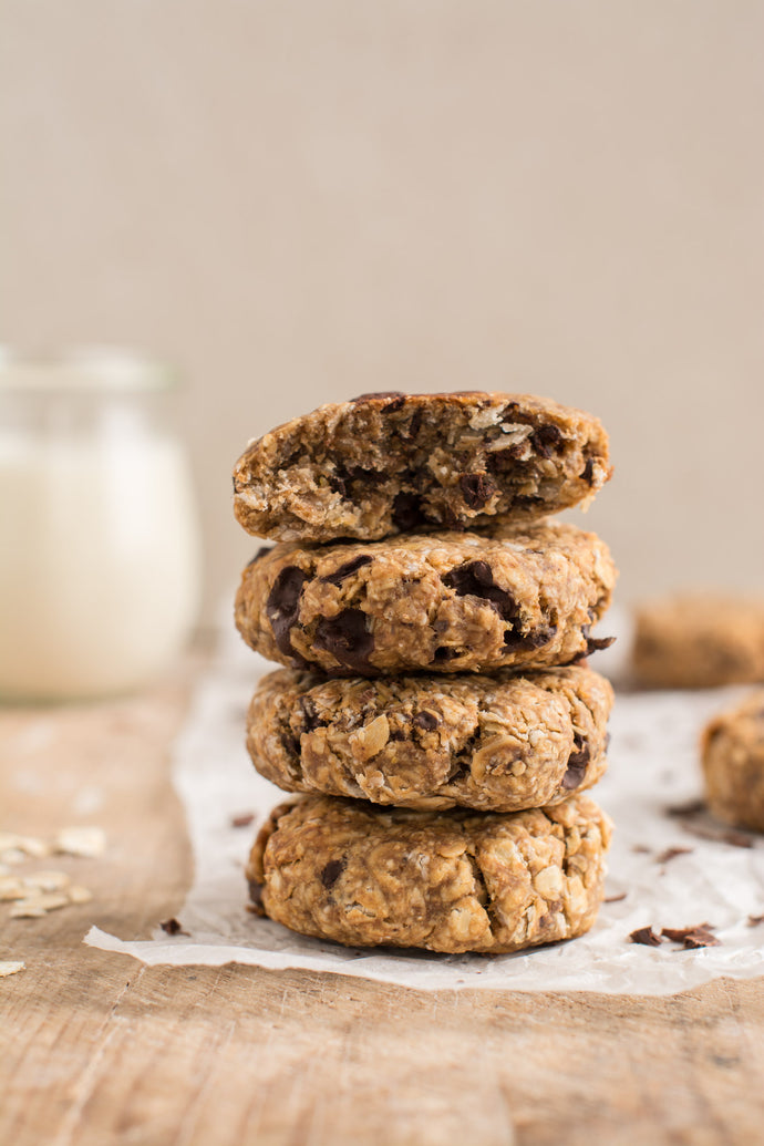 Super easy and delicious vegan oatmeal cookies that are soft and chewy using whole food plant-based ingredients
