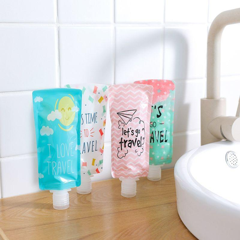 100ml Mini Travel Liquid Dispenser Bag Shampoo Storage Container Candy Color Letters Geometric Pattern Lotion Bottle Squeeze