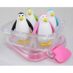 4 Penguin Erasers in a Box