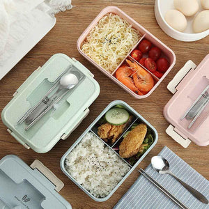 Microwave Wheat Straw Bento Lunch Box Spoon Food Storage Container Kid Adult