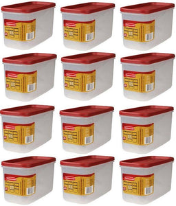 (12) ea Rubbermaid 1776471 Racer Red 10 Cup Dry Food Plastic Storage Containers