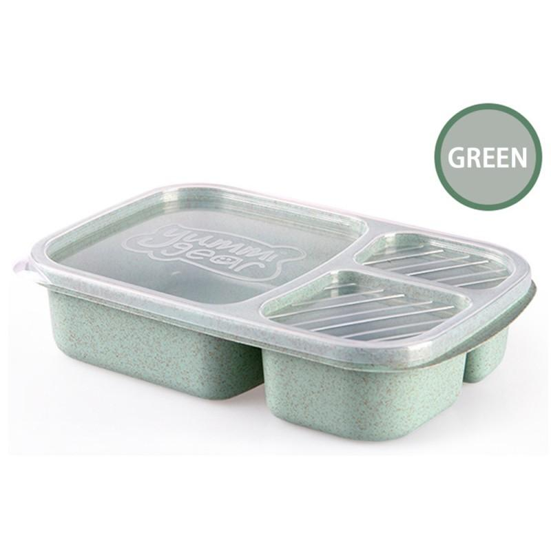 1Pc Wheat Straw Lunchbox 3 Grids With Lid Fruit Food Box Storage Container Biodegradable Bento Lunch Boxes For Kids Dinnerware