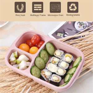 1Pcs Portable Japanese Lunch Boxs Box 3 Grid With Lid Microwave Food Box Fruit Storage Container Boxes Dinnerware Set For Kids