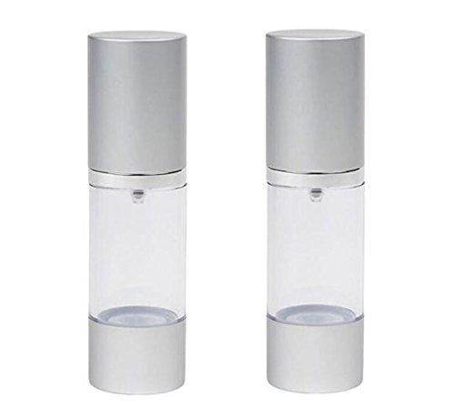 2Pcs Clear 30Ml 1Oz Empty Upscale Refillable Plastic Airless Pump Bottles Make Up Cream Lotion Toner Cosmetic Toiletries Liquid Storage Containers Jar Pots With Silver Cap