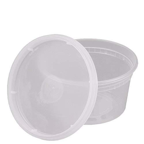 12 Oz. Plastic Deli Food Storage Containers With Airtight Lids [48 Sets]