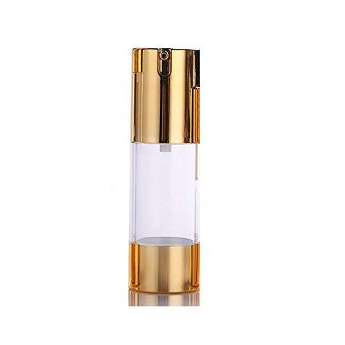 1Pcs Golden Airless Pump Bottles-Empty Refillable Plastic Bayonet Cream Lotion Toner Cosmetic Toiletries Liquid Storage Containers Jar Pots (30Ml)
