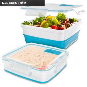 Cool Gear Expandable Air Tight Food Lunch Box 6.25 CUP BPA-free Meal Prep Blue
