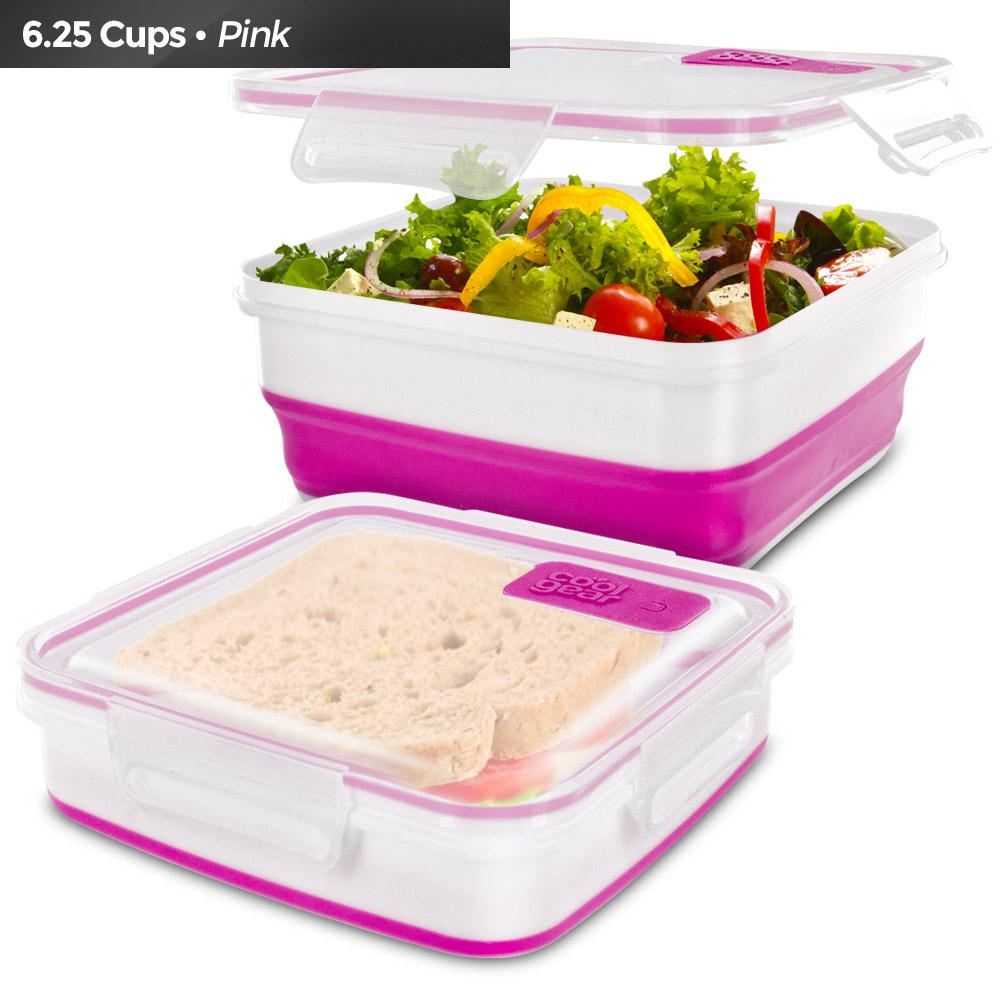 Cool Gear Expandable Air Tight Food Lunch Box Container 6.25 CUP BPA-free Pink