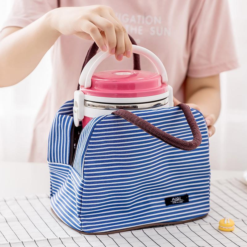 Portable Oxford Lunch Bag Lunch Tote Cooler Insulated Handbag Zipper Storage Containers