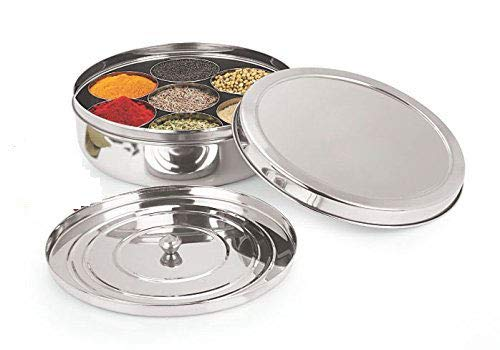 Spice Box Stainless Steel Indian Masala Dabba 7 Spice Storage Container 1 spoon