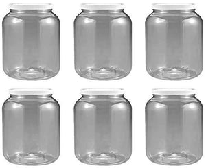 1/2 Gallon 2 Quart Plastic Wide Mouth Jar With Pressurized Seal White Screw On Cap Lid And Container Shatter-Proof Best American Bpa Free Crystal Clear Pet (6)
