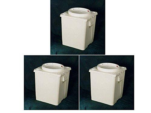 11.3 Gal, 3 Pack- Bucket With Screw Top Locking Lid, | Plastic | Life Latch White | Square With Round Lid