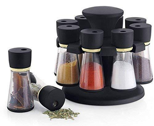 Homeglare Plastic 360 Degree Revolving Dry Spice Grocery Container Storage Rack Jar Set with Stand for Kitchen, Dinning Table (Set of 8, Assorted Color)