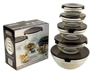 10 Pcs Glass Lunch Bowls Healthy Food Storage Containers Set With Black Lids