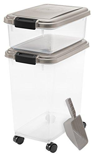IRIS USA, Inc. 3- Piece Airtight Pet Food Storage Container Combo, Chrome