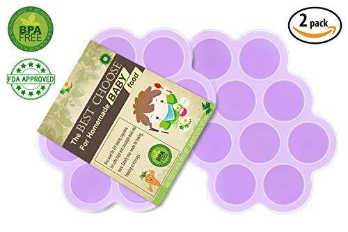 (Set Of 2) Silicone Baby Food Freezer Tray With Cover Lid - Reusable Mold Storage Containers Homemade Baby Food - Vegetable, Fruit Purees, Breast Milk And Ice Cubes - Bpa Free &Amp; Fda Approved-Purple