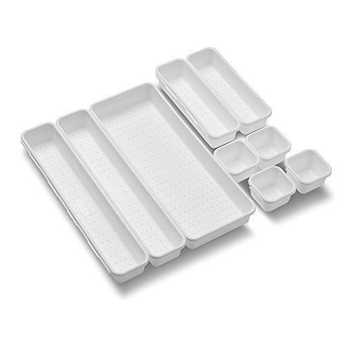 madesmart Value 9-Piece Interlocking Bin Pack - White | VALUE COLLECTION | Customizable Multi-Purpose Storage | Durable | Easy to Clean | BPA-Free