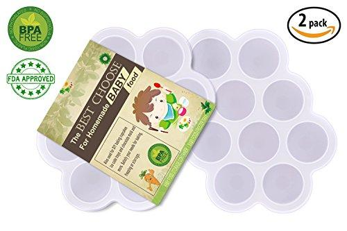 (Set Of 2) Silicone Baby Food Freezer Tray With Cover Lid - Reusable Mold Storage Containers Homemade Baby Food - Vegetable, Fruit Purees, Breast Milk And Ice Cubes - Bpa Free &Amp; Fda Approved - White