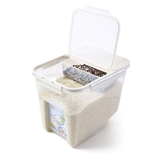 10Kg Rice Container, Wolfbush Fresh Grain Dry Food Sealed Storage Bin Plastic For Cereals Beans, With Measuring Cup