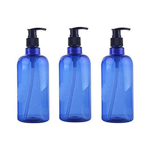3Pcs 500Ml 17Oz Blue Empty Plastic Pump Bottles With Random Color Spiral Pump Head Emulsion Jar Shower Gel Shampoo Conditioner Holder Refillable Cosmetic Container For Travel Daily Life Bathroom