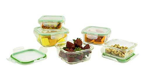 10 Piece Square Glass Food Storage Container Set With Airtight Locking Lids (Specially Made For Microwave, Oven, Fridge, Freezer, And Dishwasher)