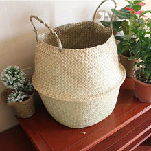 Hand knitted Flower Pot Straw Storage Baskets  Hanging Storage Containers Garden Planter Organization