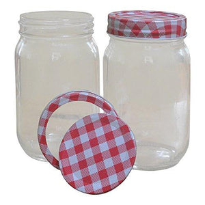 16 Oz Mason Jars For Canning, Crafts, Or Gift Giving With Gingham Print Lids - Preserves, Relishes, Sauces, Beverages, Snacks, Salad, Storage, Gift Ideas