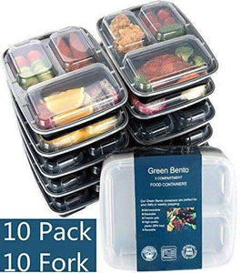 3 Compartment Meal Prep Food Storage Containers with Lids, 10 Pack