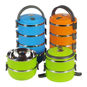 1/2/3/4 Layer Stainless Steel Bento Insulated Lunch Box Food Storage Container Thermo Server Thermal (3 Layer, Orange)