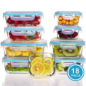 18 Pieces Glass Food Storage Containers With Lids - Glass Meal Prep Containers - Glass Lunch Containers Glass Bento Box W/Airtight Lids - Glass Food Containers For Kitchen Working Or Picnic - Bpa Free