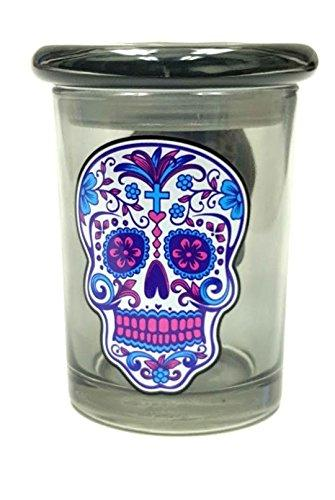 12Oz Sugar Candy Skull Glass Pop Top Airtight Container &Amp; Smell Proof Jar Glass Odorless Medical Herb Storage Container Keeps Herbs Fresh For Months Jar