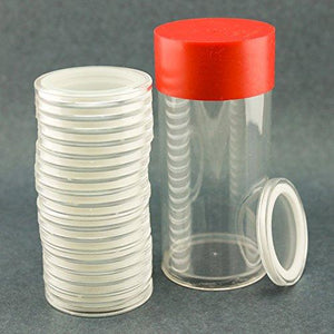 (2) Airtite Coin Holder Storage Container & (40) White Ring 41Mm Air-Tite Coin Holder Capsules