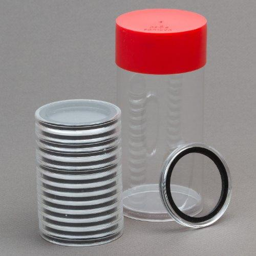 (1) Airtite Coin Holder Storage Container & (15) Black Ring 41Mm Air-Tite Coin Holder Capsules