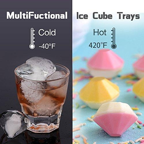 4Pack Diamond Ice Cube Trays with Lid,Silicone Ice Maker Mold, Food Grade Multifunction Storage Containers for Whiskey,Cocktails,Juice (Black)