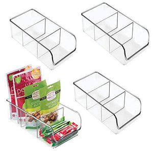 mDesign Plastic Food Packet Kitchen Storage Organizer Bin Caddy - Holds Spice Pouches, Dressing Mixes, Hot Chocolate, Tea, Sugar Packets in Pantry, Cabinets or Countertop - BPA Free - 4 Pack - Clear