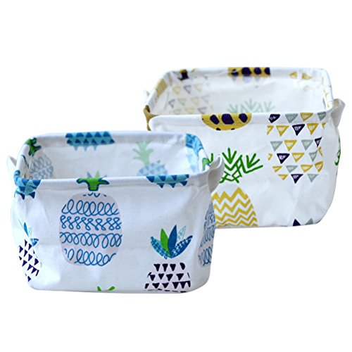 Fieans Foldable Storage Bins Set of 2 Closet Dresser Drawer Storage Organizer Baskets with Handles for Baby Toys, Makeup, Socks - Pineapple