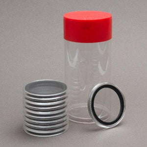 (1) Airtite Coin Holder Storage Container & (10) Black Ring 34Mm Air-Tite Coin Holder Capsules For 1/2Oz Silver Maple Leafs