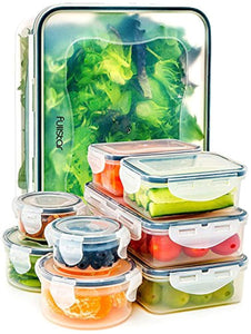 Food Storage Containers with Lids - Airtight Leak Proof Easy Snap Lock and BPA Free Clear Plastic Container Set for Kitchen Use by Fullstar (18 Piece Set)